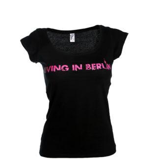 Living in Berlin Girlieshirt Schwarz Schrift Pink